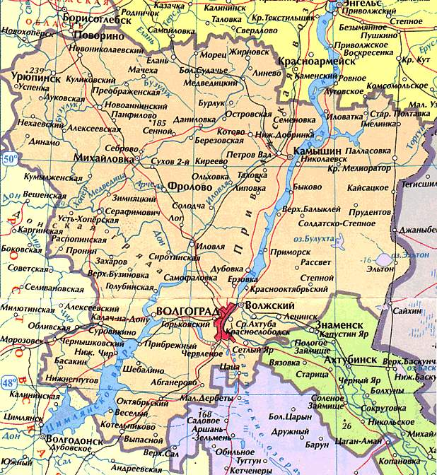 Карта Волгоградской области.