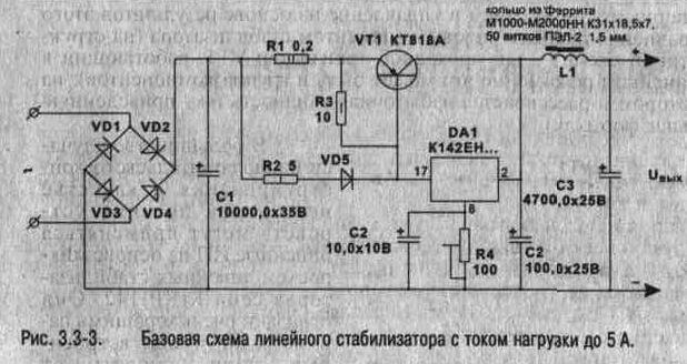 Вот схема стабилизатора с током нагрузки. до 5А. и напряжение 5-15 В (в зависимости от КР142 ) Самый мощный.